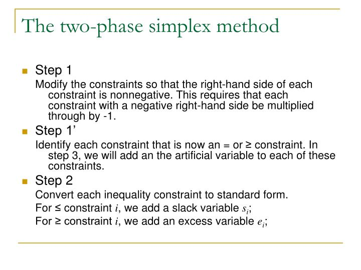 The two phase simplex method1