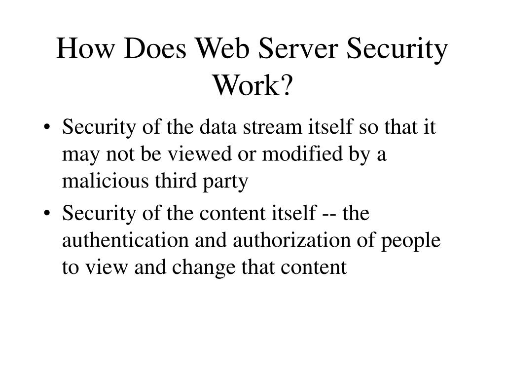 How Does Web Server Security Work?