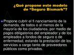 qu propone este modelo de seguro bismark
