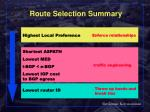route selection summary
