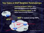 two types of bgp neighbor relationships