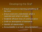 developing the staff