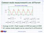 common mode measurements are different