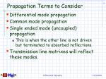 propagation terms to consider