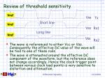 review of threshold sensitivity