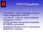 pet ct regulations