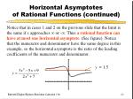 horizontal asymptotes of rational functions continued