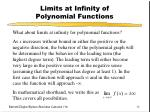limits at infinity of polynomial functions
