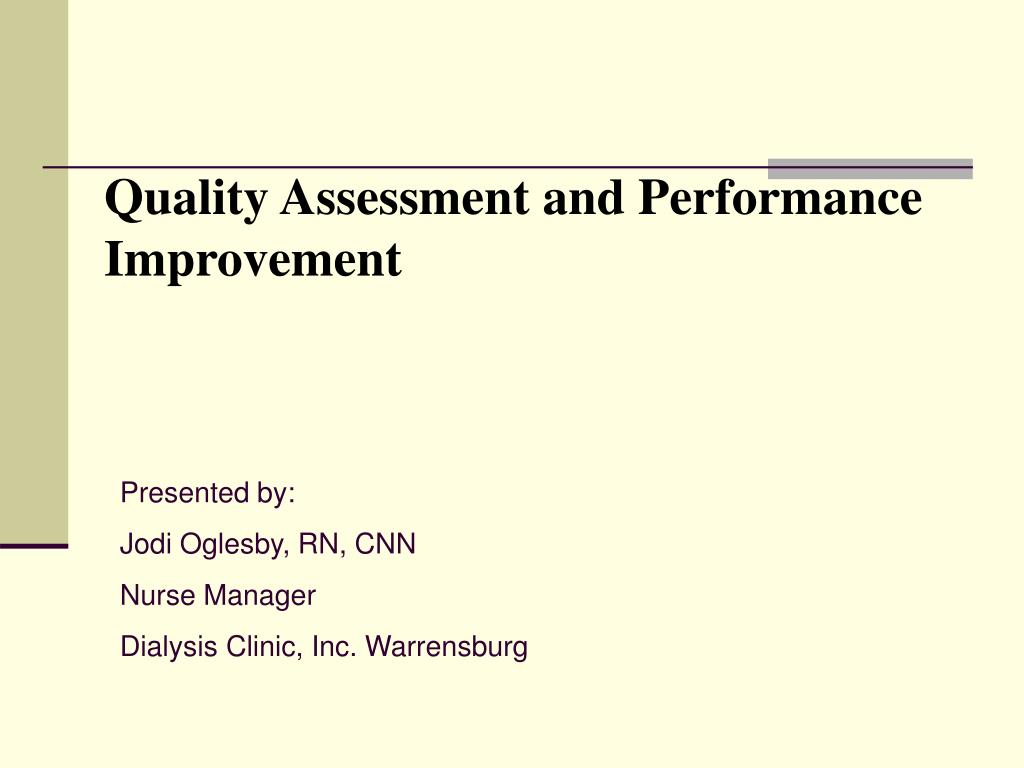 quality assessment and performance improvement l.