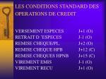 les conditions standard des operations de credit