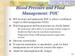 blood pressure and fluid management poc