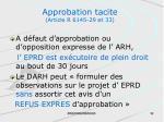 approbation tacite article r 6145 29 et 33