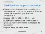 modifications du plan comptable