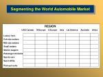 segmenting the world automobile market
