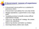 e government lessons of experience