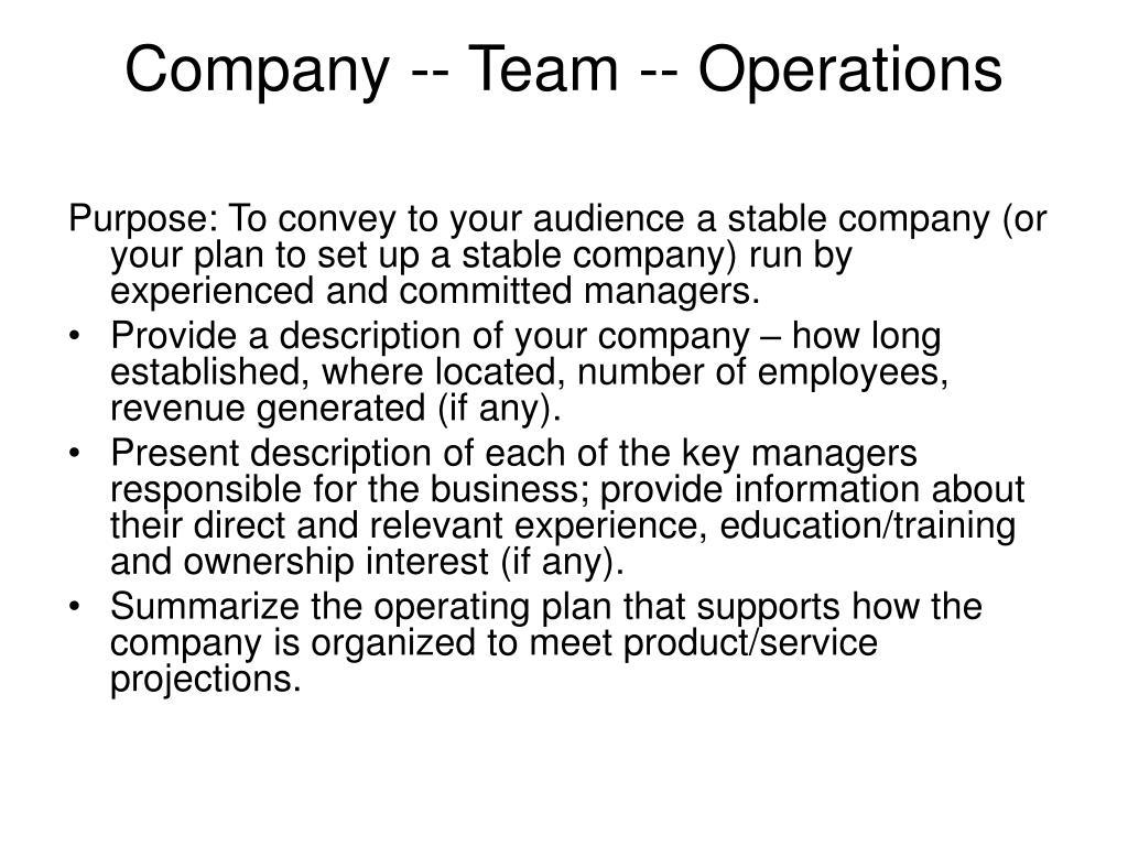Company -- Team -- Operations