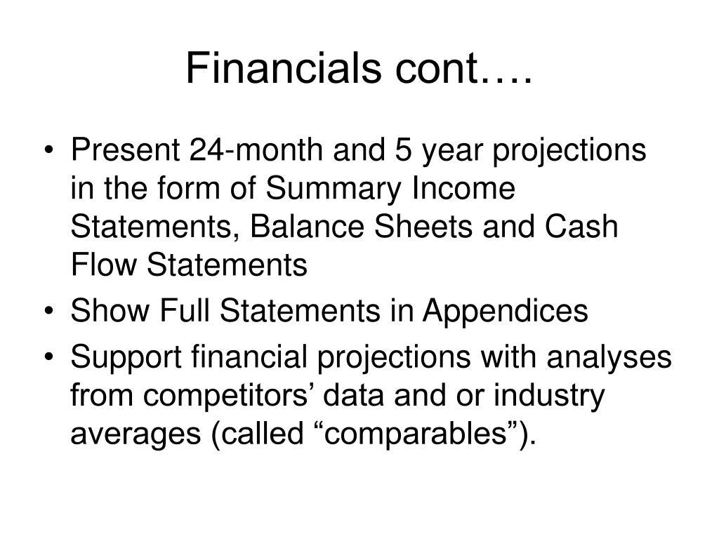 Financials cont….
