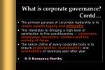 what is corporate governance contd