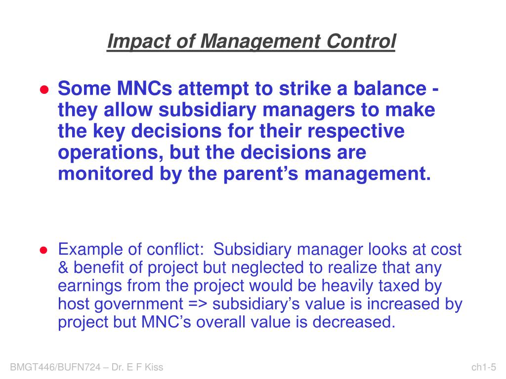 Impact of Management Control