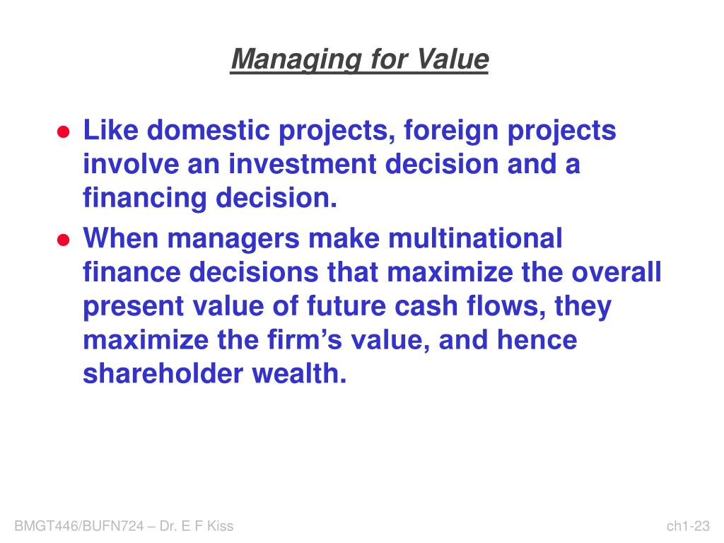 Managing for Value