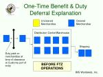 one time benefit duty deferral explanation