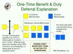one time benefit duty deferral explanation19