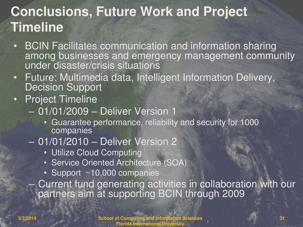 Conclusions, Future Work and Project Timeline