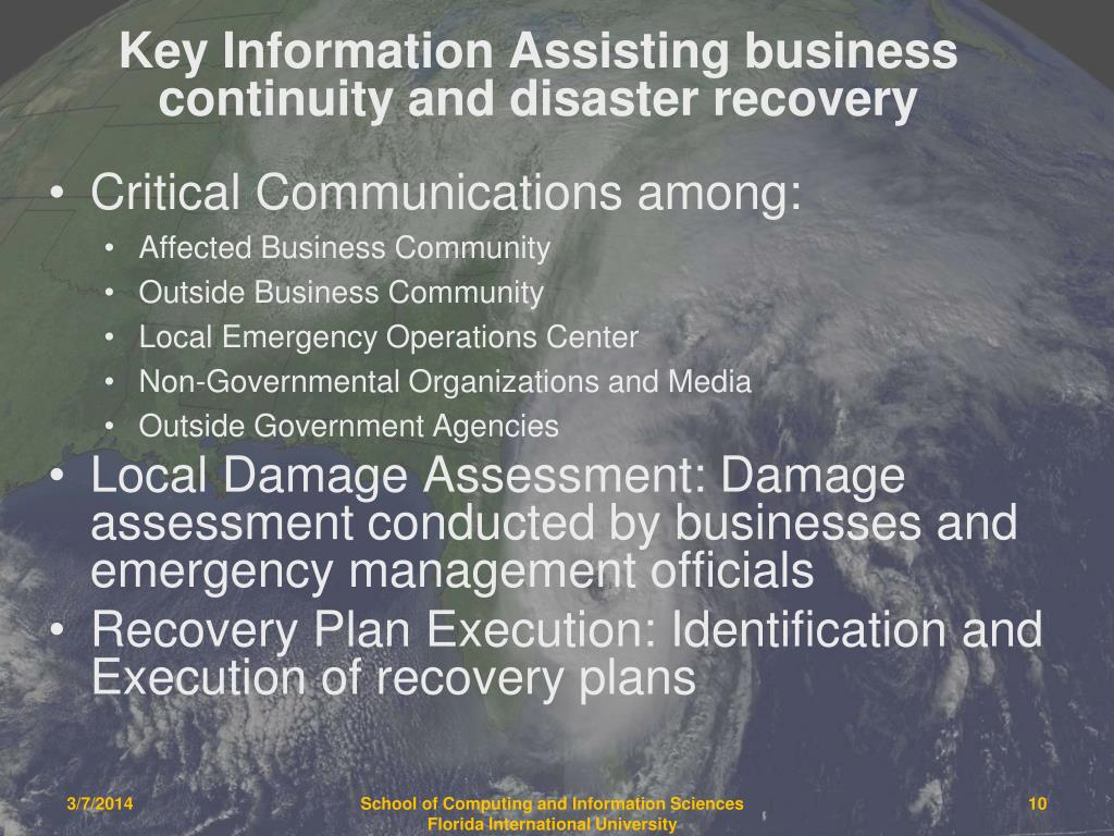 Key Information Assisting business continuity and disaster recovery