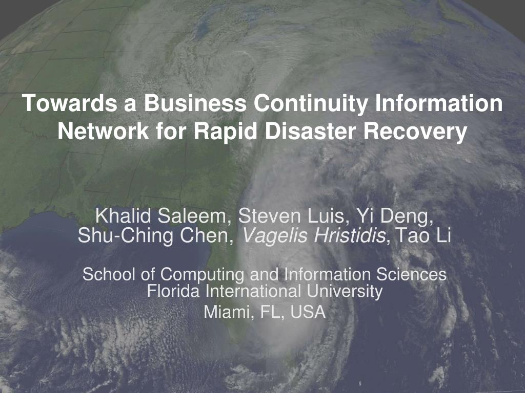 towards a business continuity information network for rapid disaster recovery l.