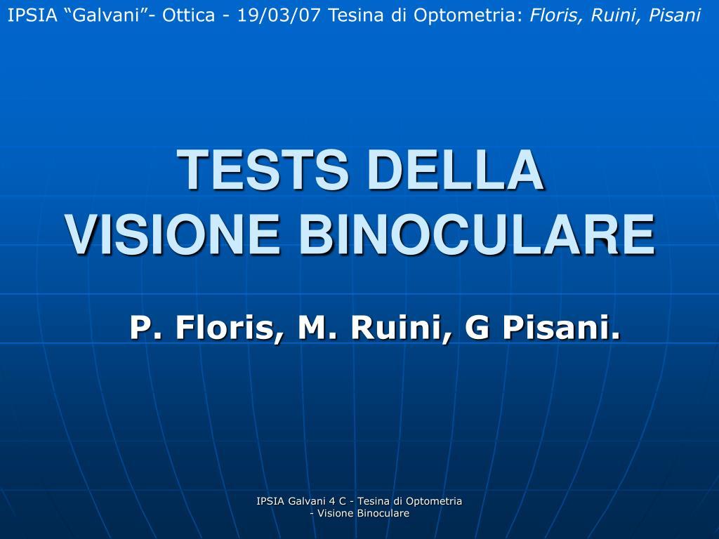 tests della visione binoculare l.