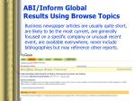 abi inform global results using browse topics18