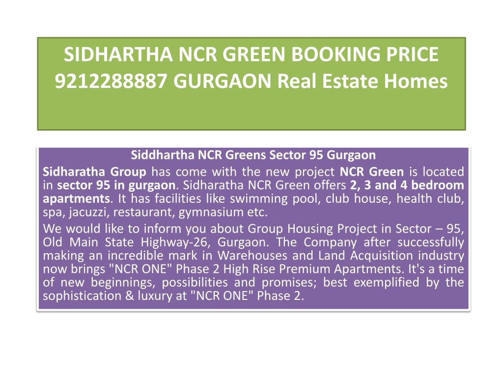 sidhartha ncr green booking price 9212288887 gurgaon real estate homes l.