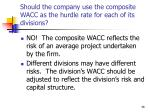 should the company use the composite wacc as the hurdle rate for each of its divisions
