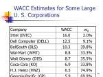 wacc estimates for some large u s corporations