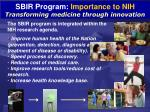 sbir program importance to nih transforming medicine through innovation