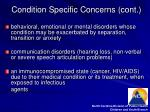 condition specific concerns cont8