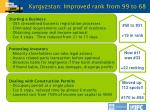 kyrgyzstan improved rank from 99 to 68