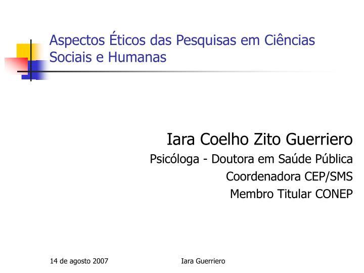 aspectos ticos das pesquisas em ci ncias sociais e humanas n.
