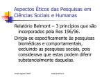 aspectos ticos das pesquisas em ci ncias sociais e humanas5