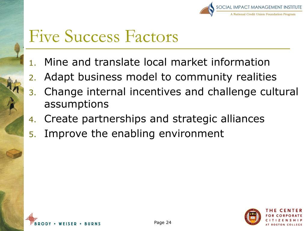 Five Success Factors
