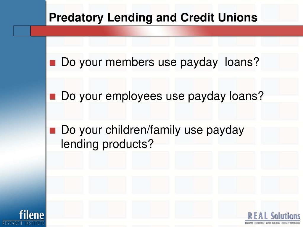 Predatory Lending and Credit Unions
