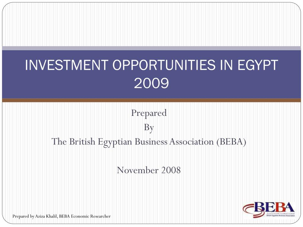 investment opportunities in egypt 2009 l.
