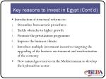 key reasons to invest in egypt cont d