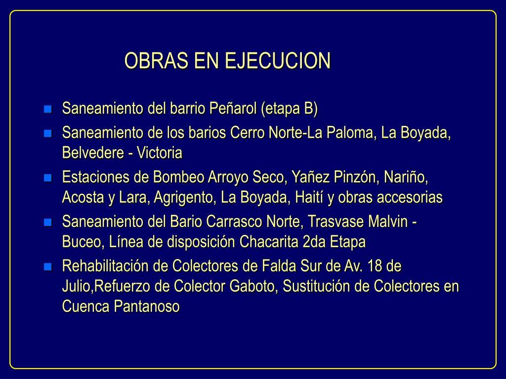 OBRAS EN EJECUCION