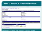 step 7 review schedule shipment