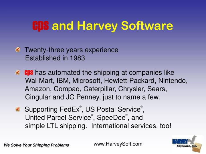 Cps and harvey software