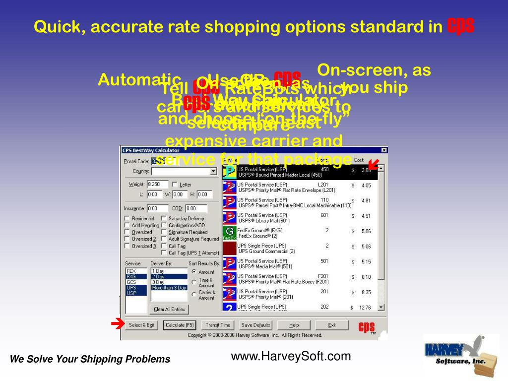 Quick, accurate rate shopping options standard in