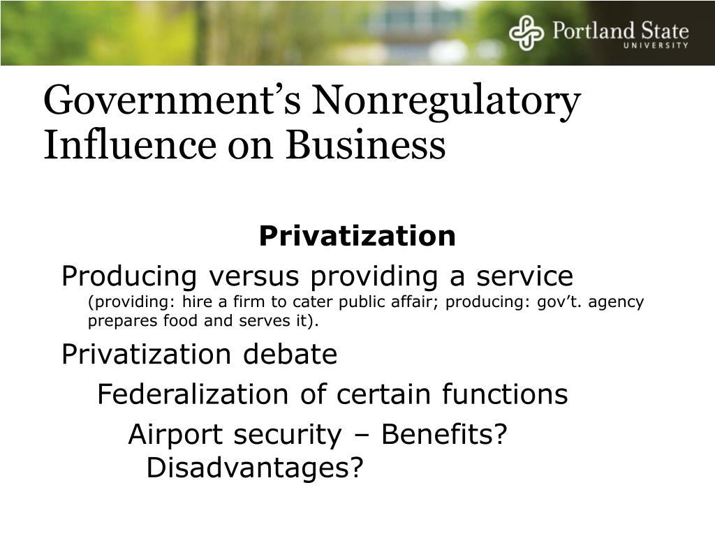 Government's Nonregulatory Influence on Business