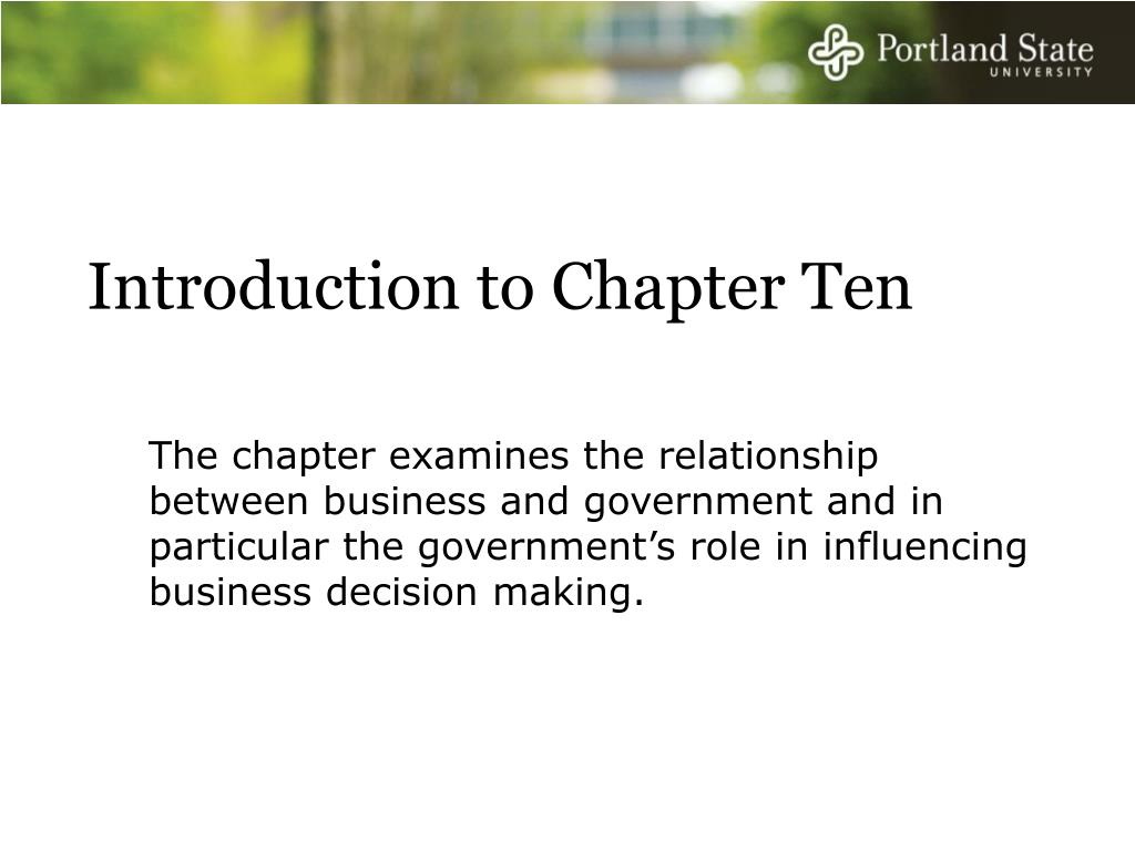 Introduction to Chapter Ten