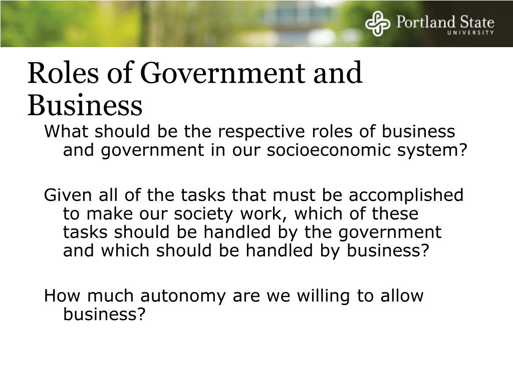 Roles of Government and Business